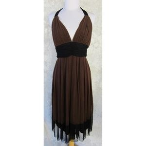 LONDON TIMES Occasion Dress Sz 14 Brown Halter